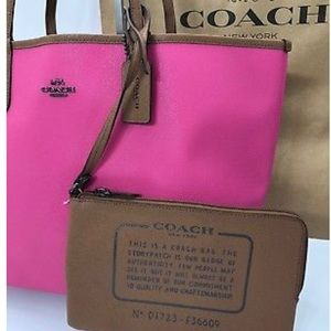 Coach Reversible City Tote in Fuchsia/Saddle NWOT